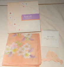Japanese Silk Pale Pink Floral Handerkerchief Scarf New Box Petals Authentic