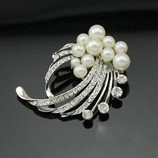 Alloy Silver Plated Rhinestone and Pearl Wedding Party Brooch Pin