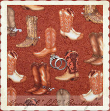 BonEful Fabric FQ Cotton Quilt VTG Brown Texas Western Cowboy Leather Horse Boot