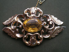 Antique Victorian 9ct Gold Scottish Cairngorm Citrine set Brooch c1885