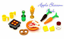 Lego Minifig KITCHEN FOOD LOT Hot Plate Pretzel Wine Bottle Carrot T-Bone Steak+
