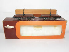 Vintage Lima 9038 Twin Flat Train Wagons With Plank Load HO Gauge Scale