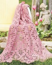 LOVELY Rose Diamond Filet Afghan/Crochet Pattern INSTRUCTIONS ONLY