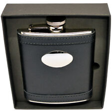 6oz Black Leather Hip Flask Captive Lid and Free Engraving (fl27)