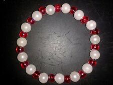 BRACELET RAINBOW RED & WHITE BEADS - (40)