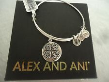 Alex and Ani FOUR LEAF CLOVER III Russian Silver Bangle New W /Tag Card & Box