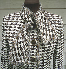 NEW $1595 St. John Collection Jacket 4 Tie Neck Houndstooth Brown Ivory Multi