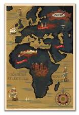 Sabena Airways MAP of AFRICA Belgian Airlines Belgium Poster Print circa 1950