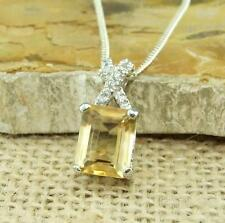 Cut Citrine 925 Sterling Silver Pendant Necklace Jewellery