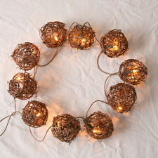 New 10 LIGHT TWIG BALL GARLAND String Plugin Primitive French Country Tree