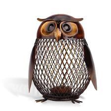 Owl Art Sculpture Coin Saver Box Money Pot Handmade Home Decor Piggy Bank G7N2