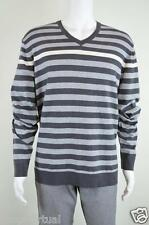 Alfani New Gray Striped Long Sleeves V-neck Knit Pullover Sweater MSRP $60 XXL