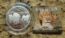 2016 Republic of Congo 5 OZ .999 Silver African LION Coin #826 of 1000 Minted!!