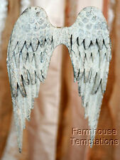 """DISTRESSED METAL ANGEL WINGS Shabby FRENCH Chic VINTAGE WHITE Wall DECOR 10.5"""""""