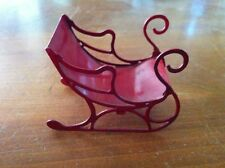 Dollhouse miniature Red Metal Sleigh Christmas Holiday