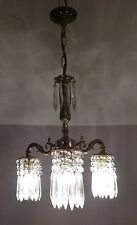 Vintage Brass Down Lighter Chandelier with Crystal Down Lights....Pair Available