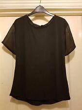 NEXT SMART BLACK SHEER SHORT SLEEVE PEEPHOLE TIE DETAIL OPEN BACK TUNIC TOP - 10