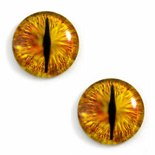 Pair of 30mm Golden Dragon Glass Eyes for Jewelry or Doll Making - Canada