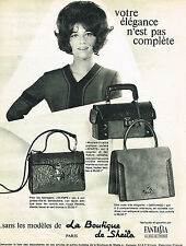 PUBLICITE ADVERTISING 034   1965   LA BOUTIQUE DE SHEILA   sacs FANTASIA