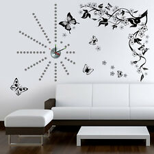 Wall Stickers Mural Decal Paper Art Decoration  Butterfly Vine Silver Dot Clock