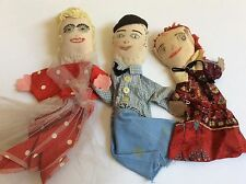 VTG lot of 3 Cotton dress Cloth Head Hand made Hand Puppets kids