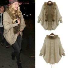 Women Coat Sweater Knit Fur Collar Thicken Shawl Batwing Sleeve Cardigan FT