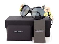 RARE Collectors DOLCE & GABBANA Black Flowers Cat Eye Sunglasses DG 4180 501/87
