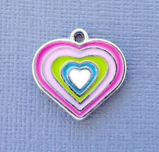 5pcs Heart Enamel Pendant Charms Dangle DIY Jewelry findings