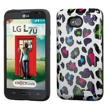 For LG Optimus L70 / Exceed 2 - HARD&SOFT RUBBER HYBRID CASE PURPLE PINK LEOPARD