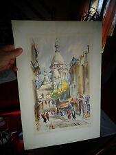 Ancienne Lithographie Marius Girard LE SACRE COEUR PARIS Rue Chevalier La Barre
