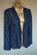 TOPSHOP Navy Lace Effect Blazer UK 8