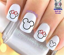 "RTG Set#627 ""Mickey Minnie Ears 2 Silhouette"" WaterSlide Decals Nail Transfers"