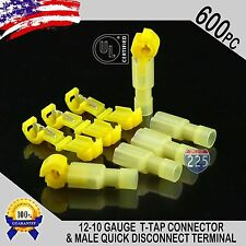 (600) T-Taps + Male Disconnect Wire Connectors Yellow 12-10 Gauge Terminals UL