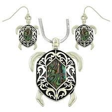 Sea Turtle Abalone Shell Pendant Necklace & Earring Set with 24 Inches Chain
