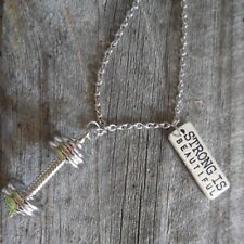 """Fitness-""""STRONG IS BEAUTIFUL"""" & Weightlifting-Chain-Necklace-Gym-  Men or Women"""