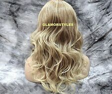 "24"" Long Wavy Layered Blonde Mix Full Lace Front Wig Heat Ok Hair Piece NWT"