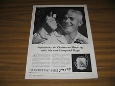 1957 Print Ad Zippo Lossproof Lighters Happy Sportsman on Christmas