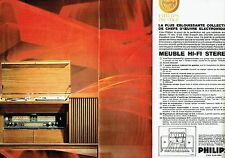 PUBLICITE ADVERTISING 126  1966   Meuble hi-fi Philips Prestige stéréo  (2p)