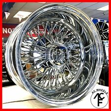 13x7 REVERSE 72 SPOKE WIRE WHEELS CROSS LACE CHROME RIMS (4pcs)
