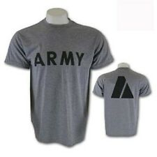 Gray US Army Military Issue IPFU PT Physical Fitness t shirt short sleeve Large