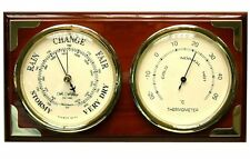 Mahogany Brass Finish Plaque Weather Center Clock Barometer Thermometer