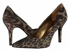 Nine West Flax Bronze Gold Animal Classics Heal Pointy Toe Pump Shoes 9.5 M USA