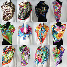 "lot of 10 vintage floral animal skin 39"" satin wholesale square scarves"