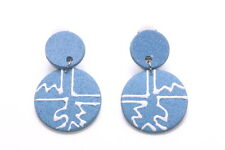 BLUE GREY WOODEN DISCS CLIP ON EARRINGS WITH MODERN GRAPHIC DESIGN FEATURE(ZX43)