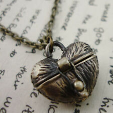 Antique Gold Heart Box Locket Necklace Kitsch Bronze
