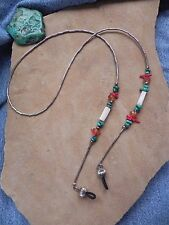 Turquoise Coral Amber Mother of Pearl Liquid Silver EYE GLASSES holder Navajo