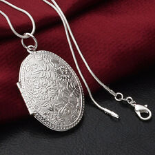Stunning Silver Plated Carving Locket Pendant Chain Choker Necklace Jewelry