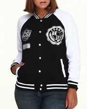 COOGI Womens Varsity Jacket Black and White Women Size 1X Extra Large