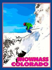 Snowmass Ski Aspen Colorado United States Amerca Travel Advertisement Poster