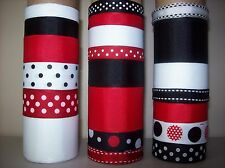 LOT OF 21 YDS. OF GROSGRAIN RIBBON  - RED /  BLACK /  WHITE  ---  B040